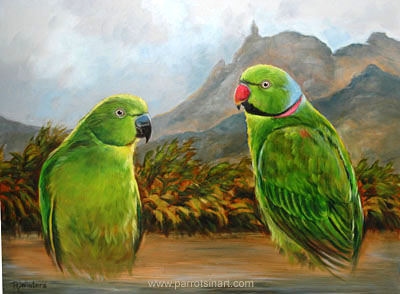 Green parrot painting - photo#17
