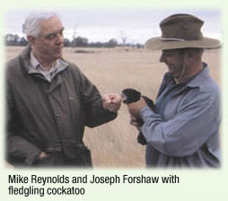 Mike Reynolds and Joseph Forshaw with fledgling cockatoo